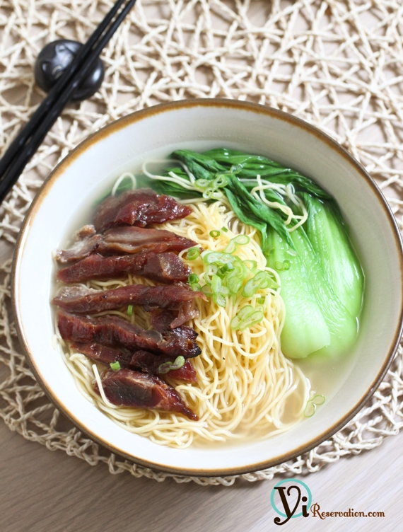 char siu (chinese (barbecued pork) soup noodle