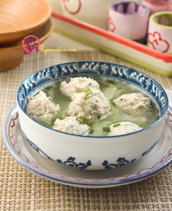 Healthy Shrimp Stuffed Chicken Meatball Soup