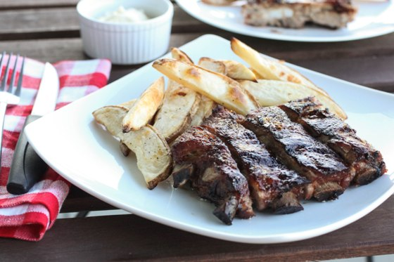Honey Crusted Ribs with Oven Baked Fries