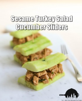 sesame turkey salad cucumber sliders recipe
