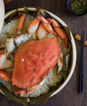 Cantonese style steamed crab over glutinous rice (sticky rice)