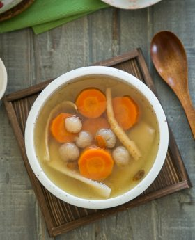 Chinese chicken herbal soup (root+spring review)